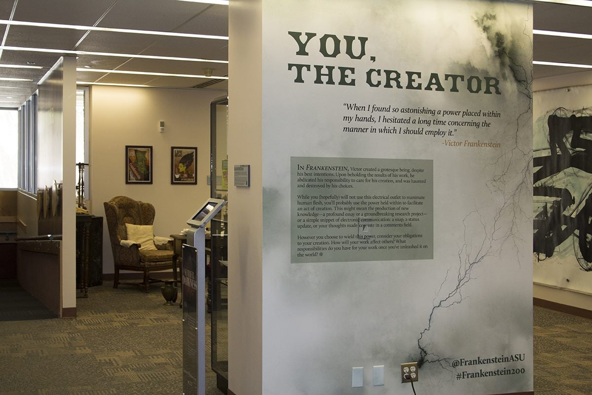 "The ""Frankenstein at 200"" exhibit at ASU Libraries."