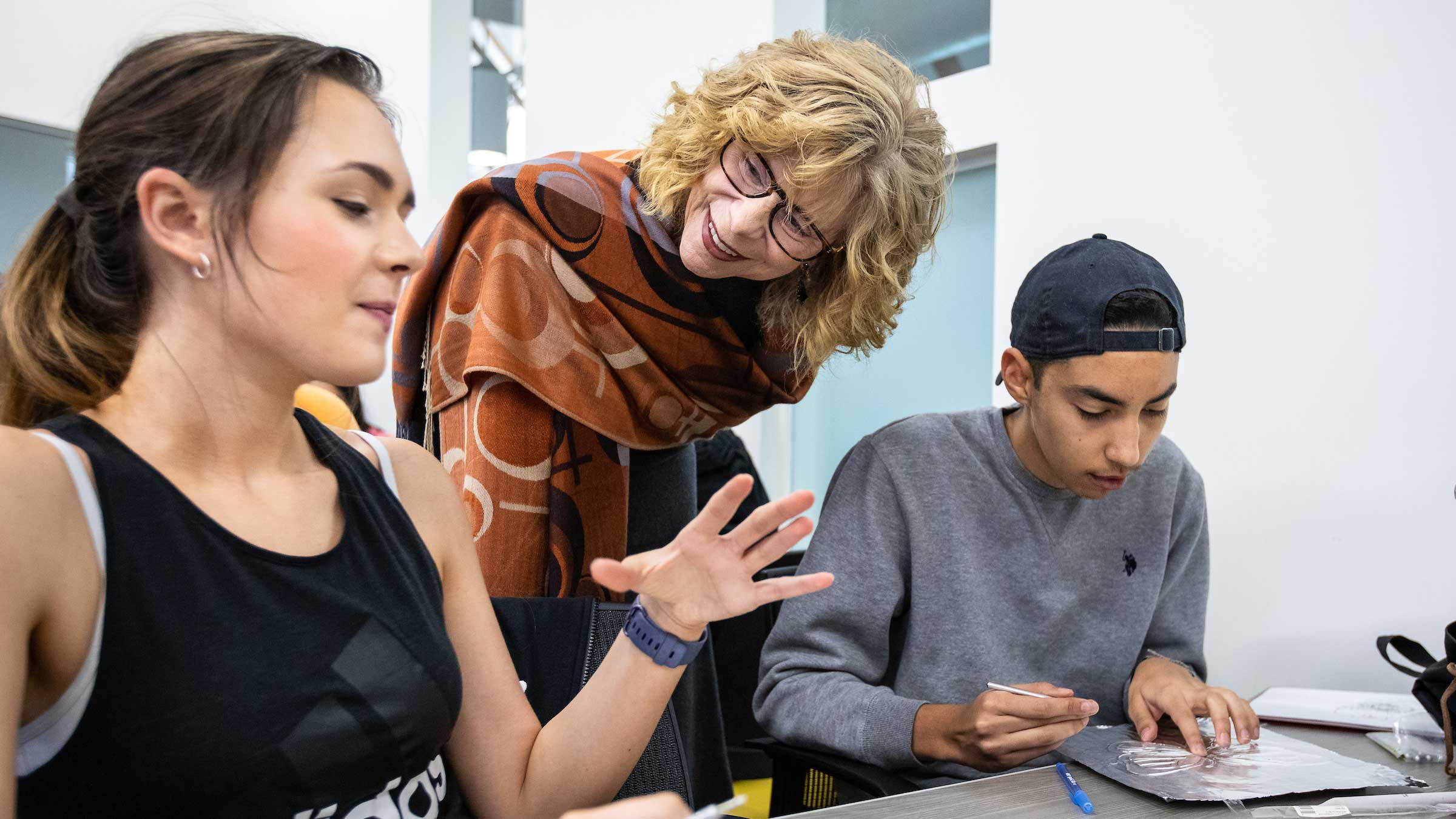 Regents Professor Sally Kitch with students in her Humanities Lab