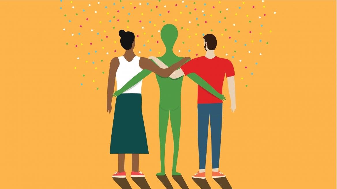 people hugging an alien illustration