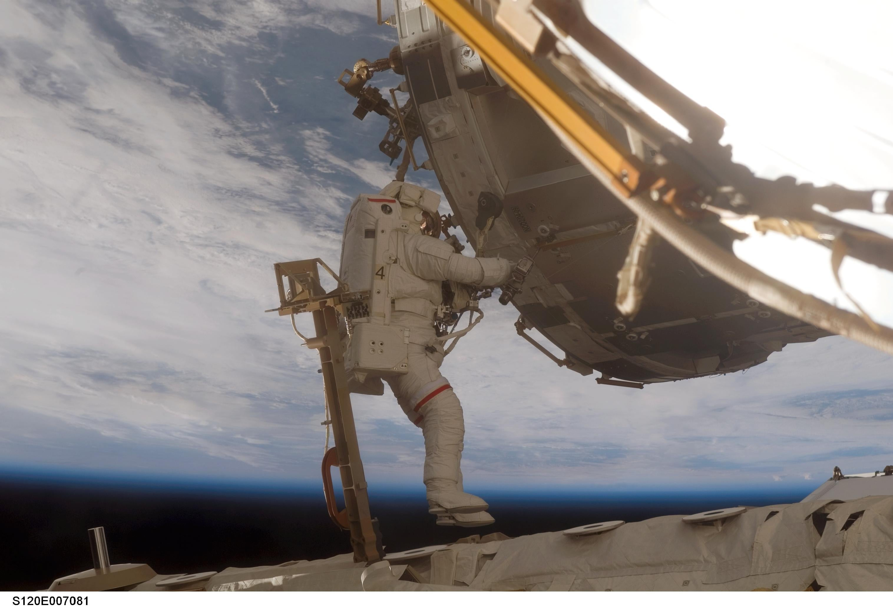 Astronaut Scott Parazynski on a spacewalk.