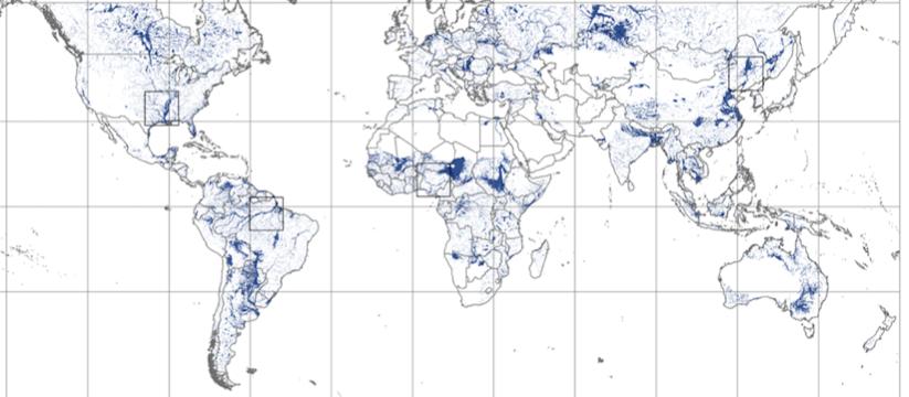 World map depicting floodplain boundaries
