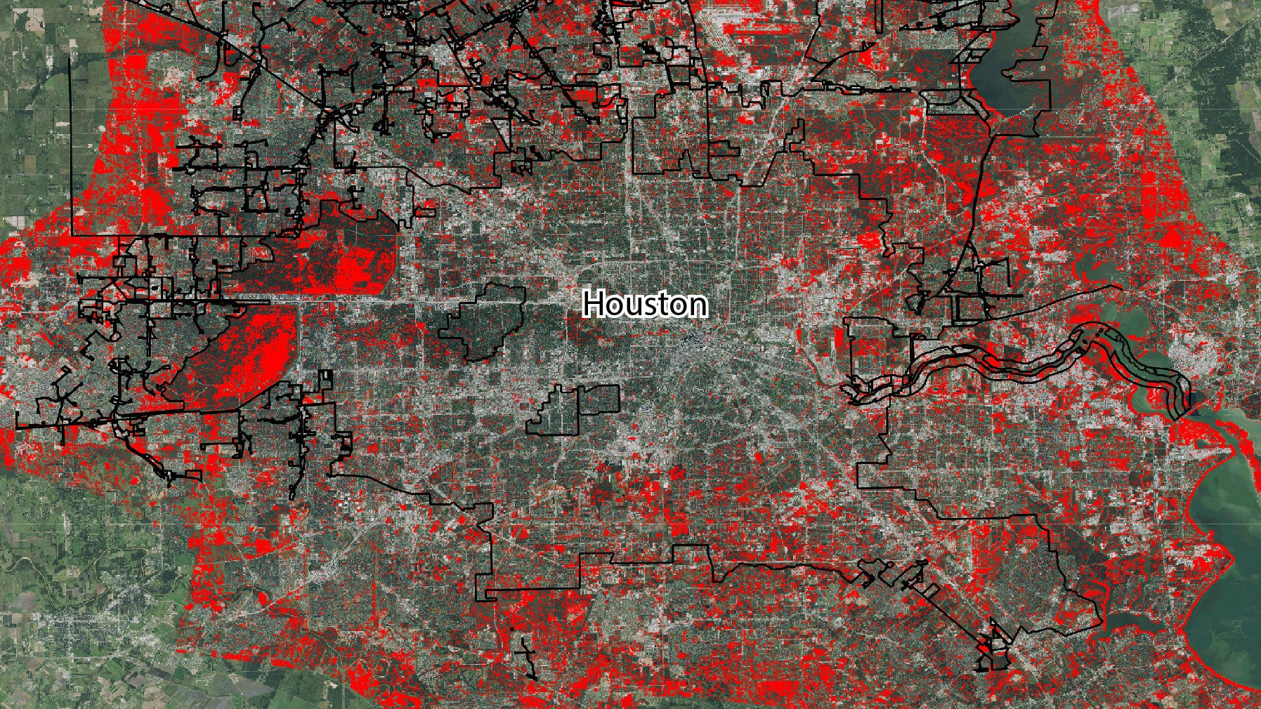 A map showing areas flooded in Houston after Hurricane Harvey