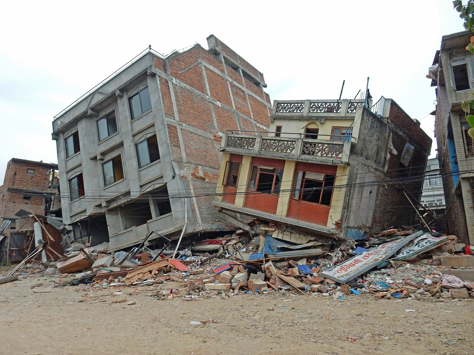 Building damage in Kathmandu from the 2015 Nepal earthquake