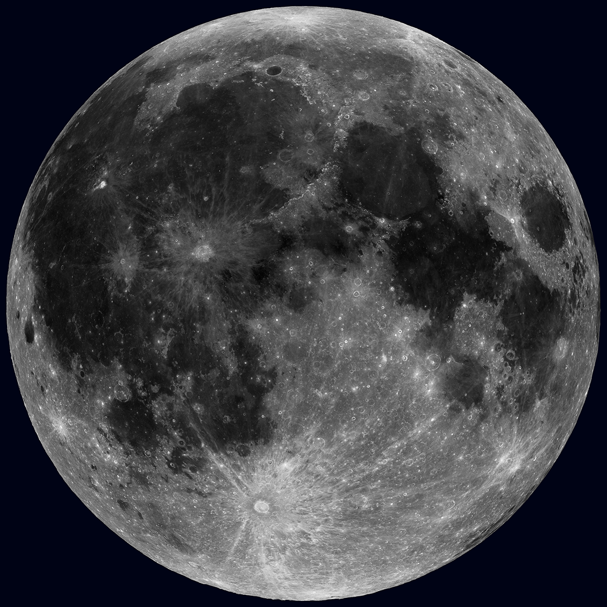 Mosaic image of the Moon taken with the Lunar Reconnaissance Orbiter Cameras