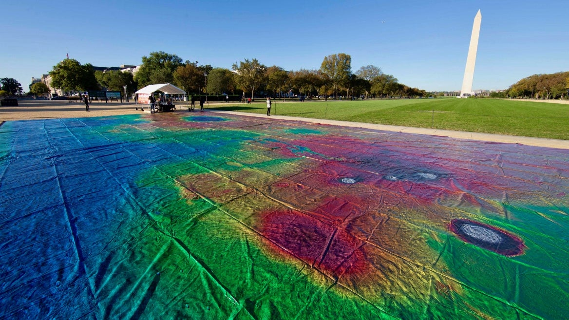 A giant map of Mars on the National Mall in Washington, D.C.