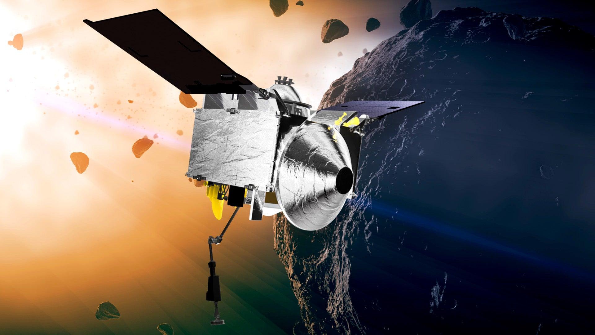 Artist rendering of OSIRIS-REx approaching the Bennu asteroid