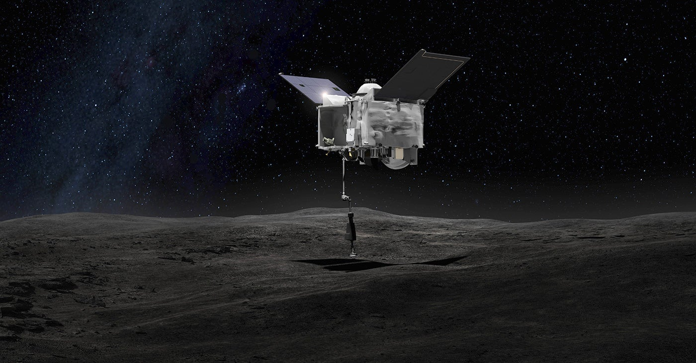 OSIRIS-REx spacecraft at asteroid Bennu