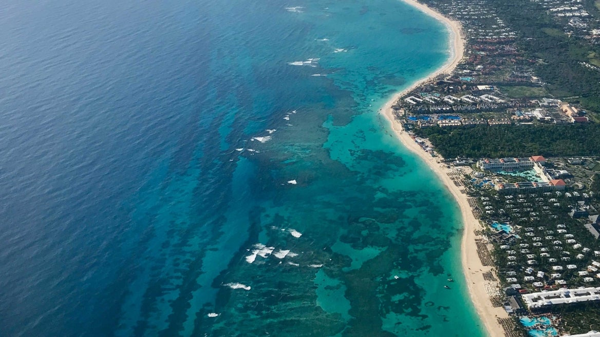 An aerial photo of coral reefs in Dominican Republic