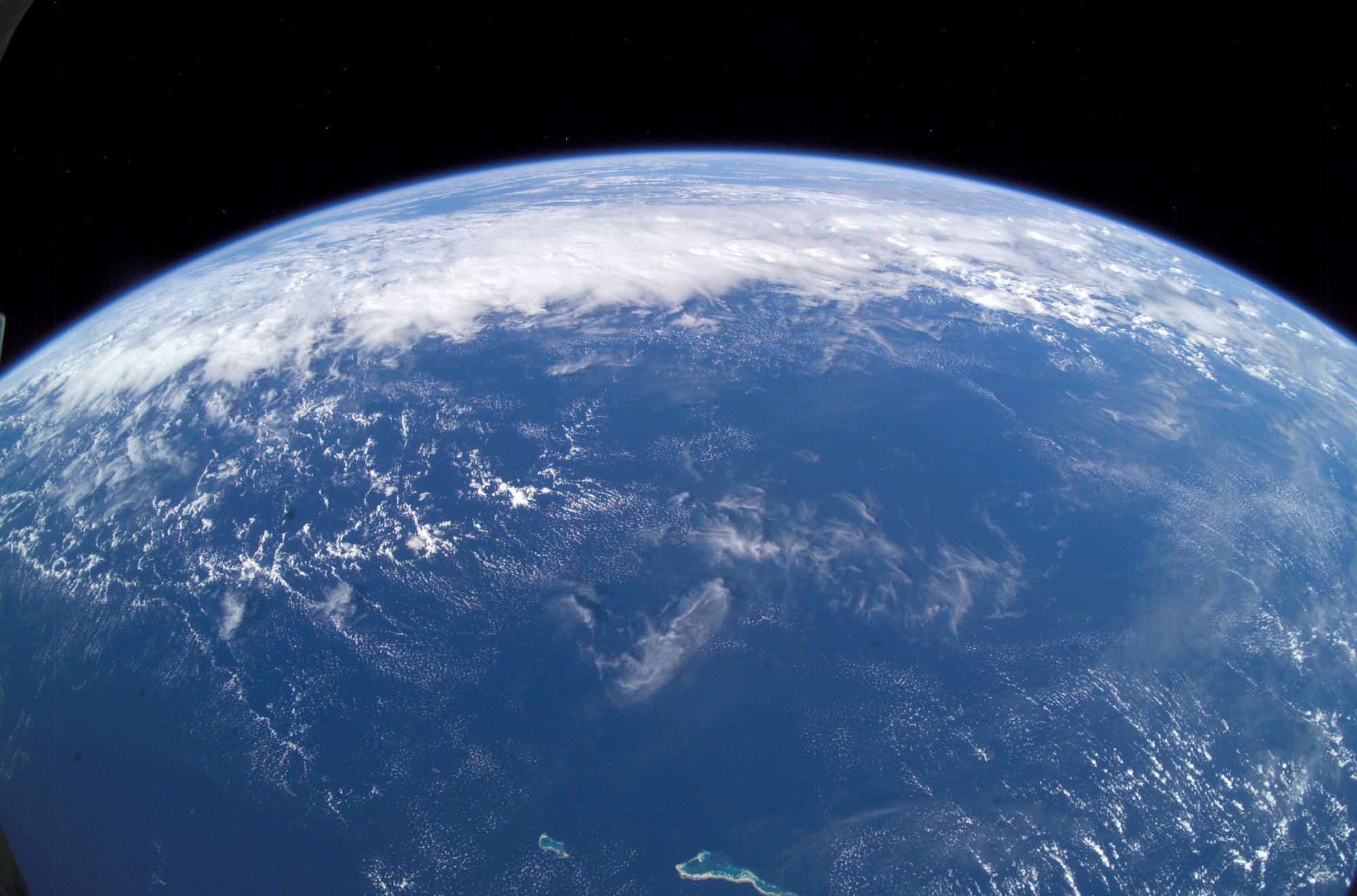 Photo of Earth from space showing mostly ocean