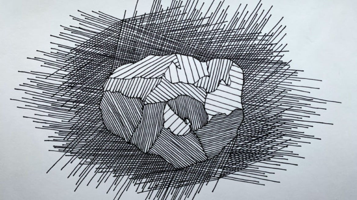 ink sketch of the asteroid Psyche