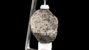 A close up of a grayish colored moon rock.
